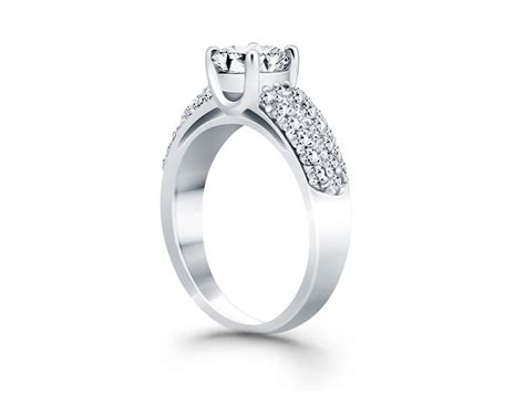 tapered pave wide band engagement ring in 14k