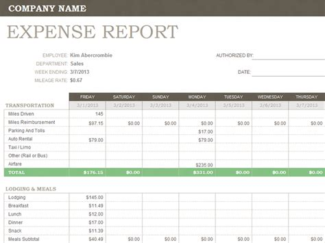 Department Expense Report Template Weekly Expense Report Template Templates