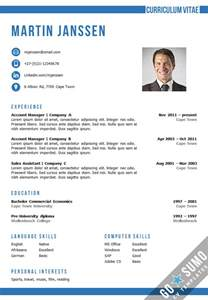 Resume Sles Word Format by Cv Template Cape Town