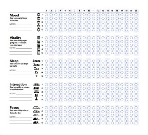 sample mood chart forms 7 download free documents in