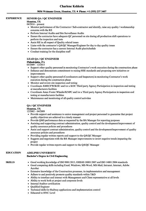 resume format for quality control engineer wonderful templates