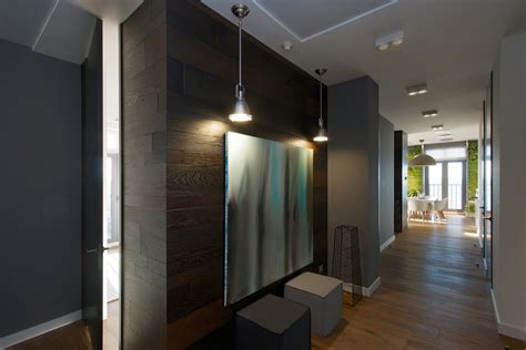 dark wood wall paneling vertical garden walls add life to apartment interior