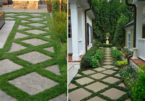 Patio Pavers With Moss In Between Pavers W Plant Material Garden