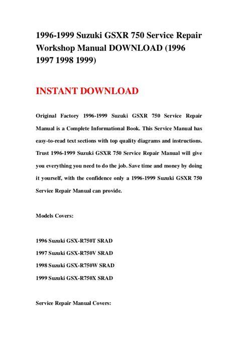 service repair manual free download 1998 suzuki x 90 lane departure warning 1996 1999 suzuki gsxr 750 service repair workshop manual download 19