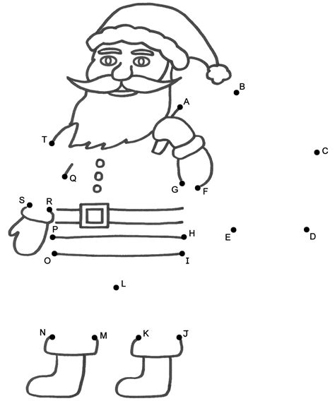 dot to dot christmas pictures santa claus connect the dots by capital letters