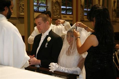 veil and cord ceremony during mass