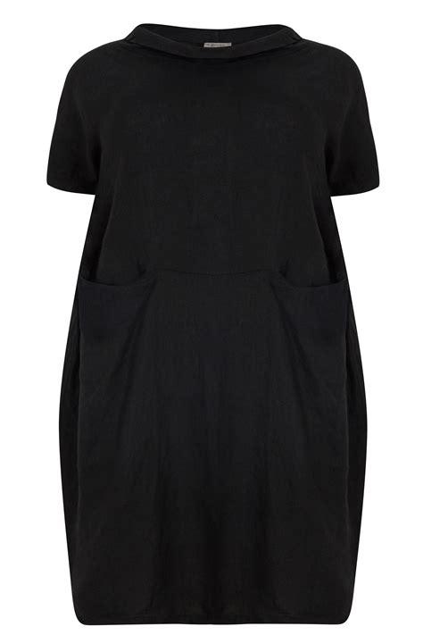 Id 740 Split Mesh Dress paprika black oversized dress with front pockets plus