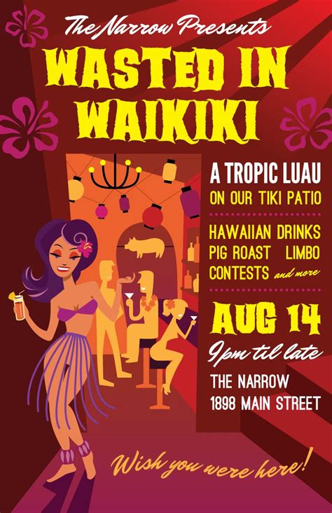 tiki hut vancouver luau poster for the narrow lounge in vancouver bc by