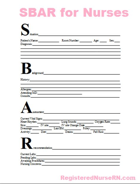 sescavocoun sbar report sheet for nurses