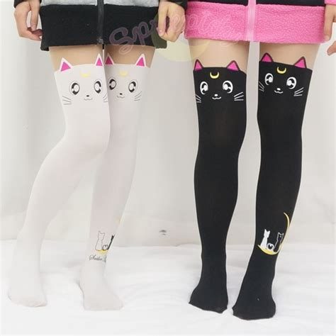 White Calsedoni Cat Eye pink ear cat tights 183 sweeterthanyourface 183 store