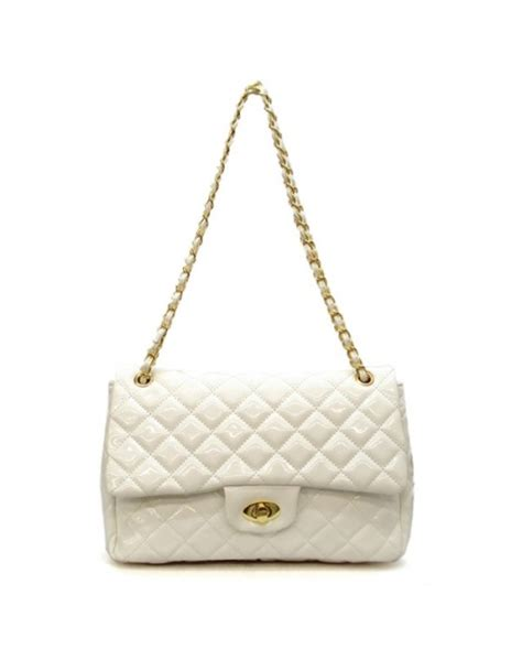 Quilted Purse by Aristocracie Dreaming In White Patent Quilted Bag
