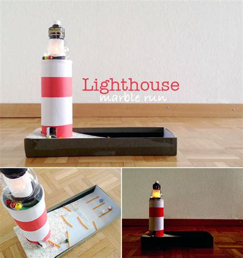 lighthouse craft project diy lighthouse marble run handmade