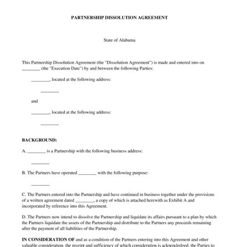 dissolution of partnership agreement template partnership dissolution agreement free template