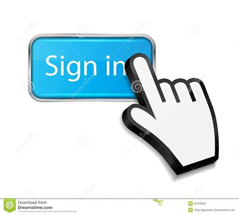 sign in mouse cursor on sign in button vector royalty free stock images image 35103559