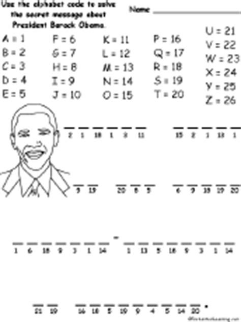 4th grade activities for president obama just b cause simple alphabet codes to solve enchantedlearning com