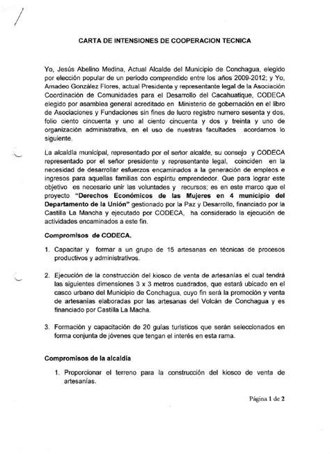 carta de consulta tecnica carta intencion codeca