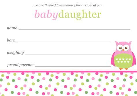 baby announcements card template baby birth announcements template free