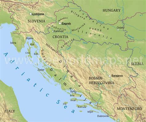 physical map of croatia croatia physical map