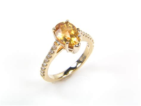 citrine engagement ring in yello gold setting onewed com