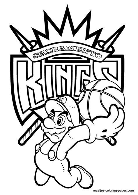 mario basketball coloring page sacramento kings and super mario nba coloring pages