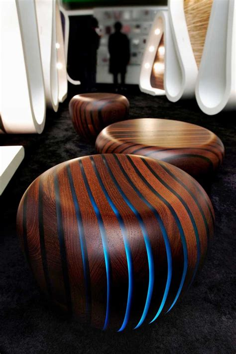 wooden furniture  glowing strips pattern bright