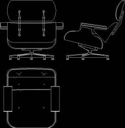 charles eames lounge chair 1956 in autocad drawing