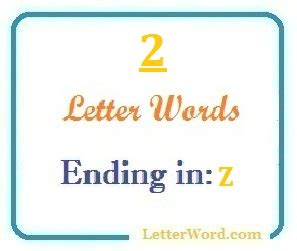 2 Letter Words Ending With Z