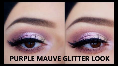 glitter eyeliner tutorial youtube purple mauve glitter makeup tutorial morphe 35p nyx