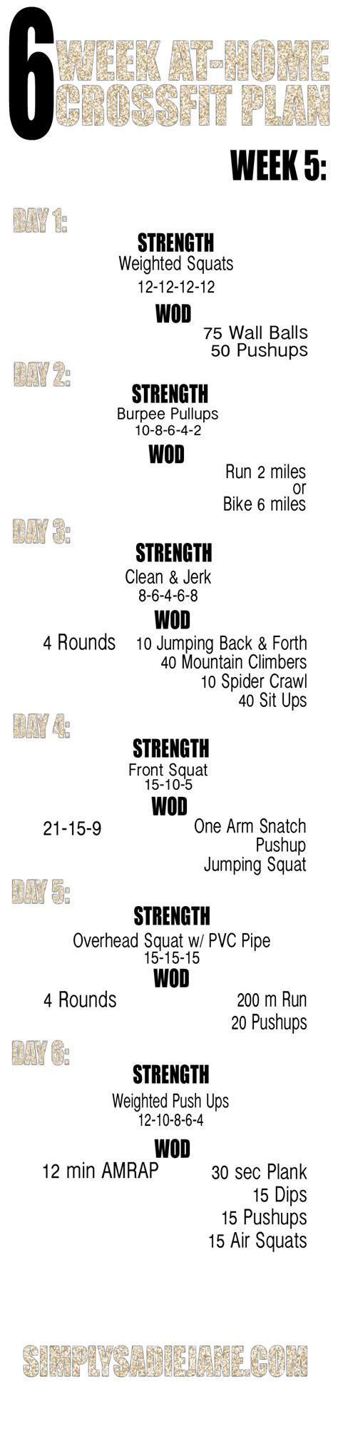 6 week at home crossfit inspired workouts week 1 week 5 6 week at home workouts fitness