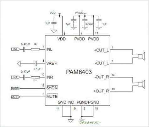 transistor d313 circuit diagram application datasheet pam8403 lifier data sheet diy compact stereo data sheets audio lifier and