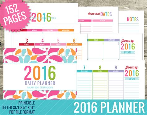 printable daily planner for 2016 8 best images of printable planner 2016 2016 calendar