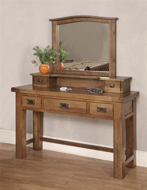 oak vanity table with mirror and bench beaumont solid dark oak bedroom furniture dressing table