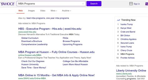 Find Mba Courses by Yahoo Is Using Display Ads To Drive Search Traffic For