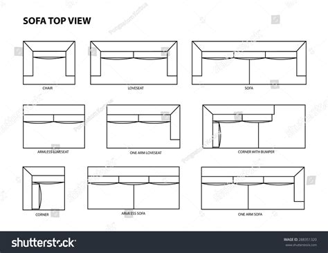 sofa plan view sofa top view vector 288351320 shutterstock