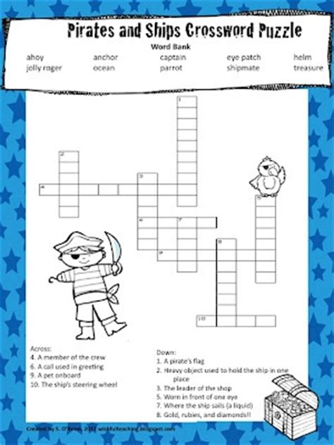 the themes crossword clue pirate classroom crossword puzzle party ideas pirate