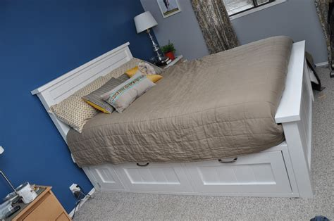 ana white storage bed ana white farmhouse bed with drawer storage diy projects