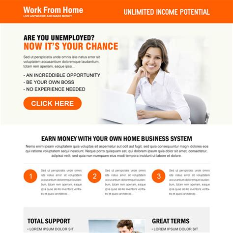Responsive Work From Home Landing Page Design Templates To Earn Money Online Page 2 Work From Home Template