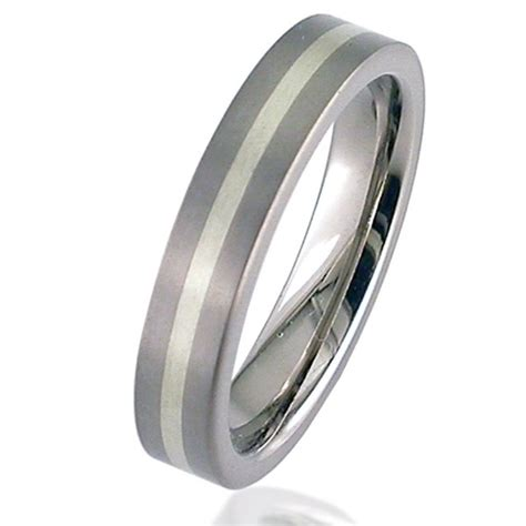 Wedding Ring Flat Design by Flat Profile White Gold Titanium Wedding Ring Silver