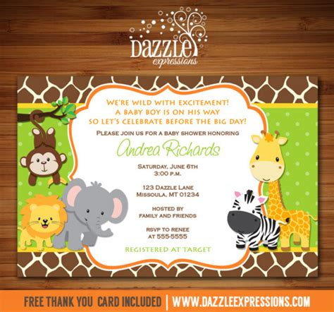 Jungle Themed Baby Shower Invitations by Jungle Baby Shower Invitation Giraffe Printable