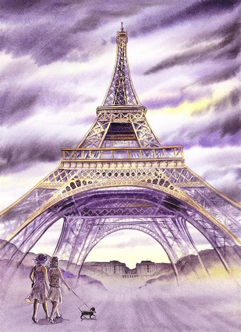 Eiffel Tower Duvet Evening In Paris A Walk To The Eiffel Tower Painting By