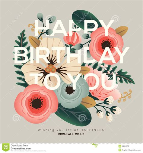 Modern Happy Birthday Wishes Modern Birthday Floral Card Stock Vector Image 54616575