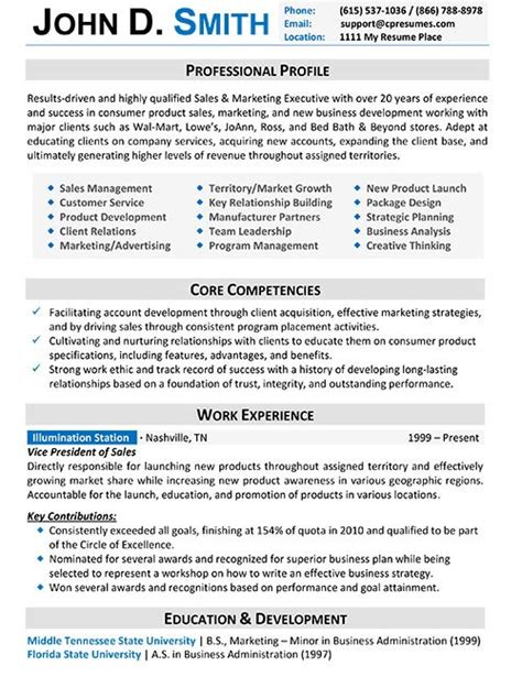 Resume Templates For Business Professionals Resume Sles Types Of Resume Formats Exles And Templates