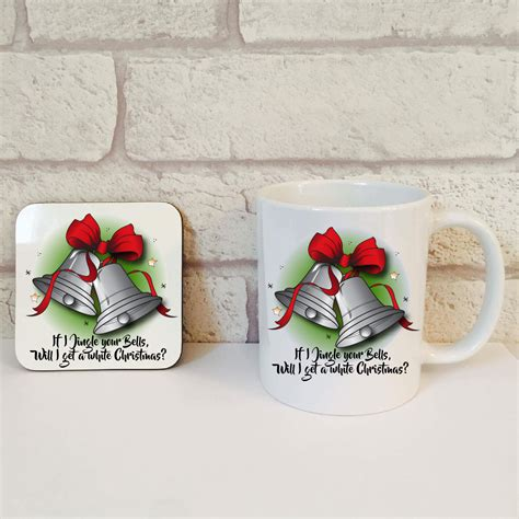 white christmas novelty gift set mug coaster set