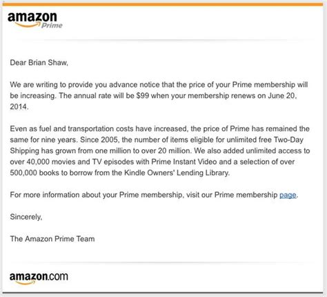 A Deeper Look At The Amazon Prime Price Increase The Motley Fool Price Increase Email Template