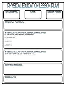 Phys Ed Lesson Plan Template lesson plans phys ed review
