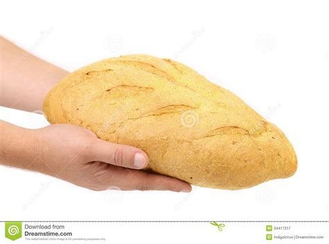 Handmade White Bread - holds bread of corn meal royalty free stock