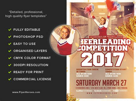 Cheerleading Competition 2017 Flyer Template V2 Flyerheroes Ad Template 2017