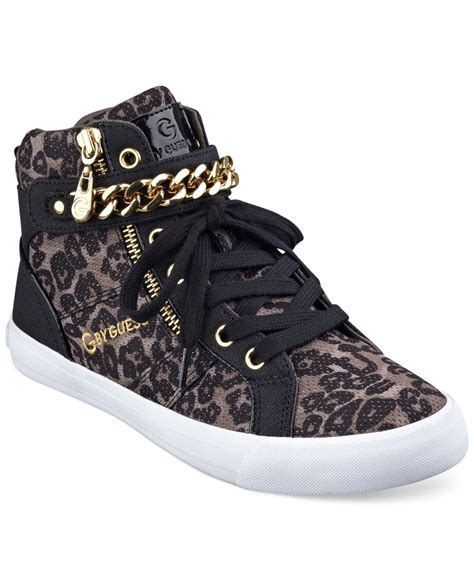 Guess Leopard Chain g by guess s orvan high top chain sneakers lyst
