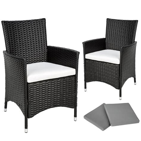 Outdoor Armchair Cushions by 2 X Poly Rattan Garden Chairs Alu Wicker Outdoor Armchair