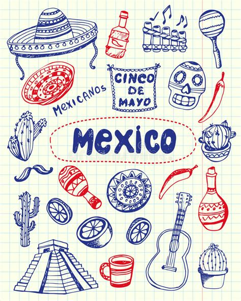 pen doodles vector mexico symbols pen doodles vector collection stock